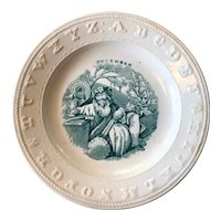 ABC Staffordshire Green Transferware Child's Plate for December - circa 1850
