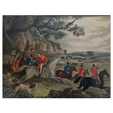 Framed Hand Colored Victorian Fox Hunting Print - Lots of Horses and Hounds