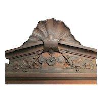 Handsome Antique Hand Carved Wood Pediment Over Door - Architectural Element