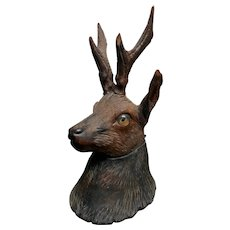 Sweet Black Forest Deer Inkwell -  Carved Wood with Glass Eyes