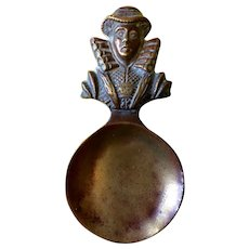 Figural Brass Tea Caddy Spoon depicting Mary Queen of Scots