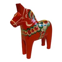 "7"" Hand Painted Wooden Dala Horse with Nils Olsson of Sweden Sticker"
