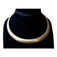 Nice Snake Link Gold Filled Choker Necklace - Mid Century
