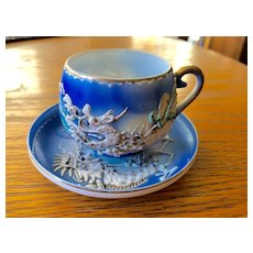 Japanese Porcelain Cup & Saucer with Geisha Lithophane and Dragon Motif