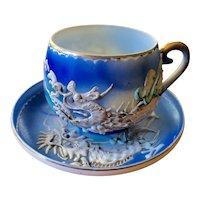 Japanese Porcelain Cup & Saucer with Geisha Lithophane and Dragon Motif