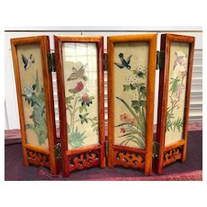 Two Sided Japanese Miniature Hand Colored Folding Screen