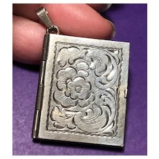 Very Nice (835) Silver Book Shaped Locket  - Primrosa