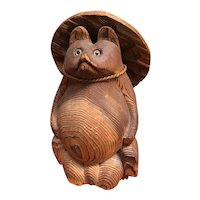 """Japanese 9"""" Carved Wooden Tanuki or Raccoon Dog with Hat"""