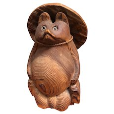 "Japanese 9"" Carved Wooden Tanuki or Raccoon Dog with Hat"