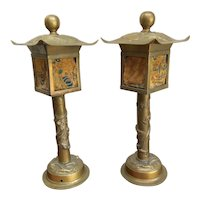 "Pair of 17"" Brass Chinese Lanterns / Lamps with Pagoda Design and Raised Dragons"