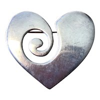Modernist Heavy Mexican Sterling Silver Heart Pin circa 1970's