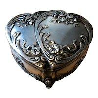 Very Pretty Double Heart Silver Plated  Trinket Box - Circa 1900