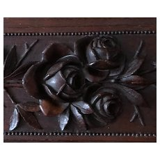 Pretty Antique Carved Wooden Glove Box with Roses and Swags