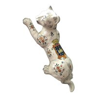 Large French Faience Cat Wall Pocket