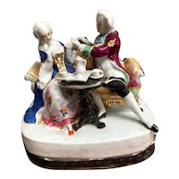 CONTA & BOEHME Porcelain Figural Inkwell with Two  Lovers - 19th Century