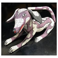 "Charming 13"" Mexican Folk Art Dog Hand Painted Wood Carving - Alebrije"