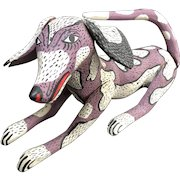 """Charming 13"""" Mexican Folk Art Dog Hand Painted Wood Carving - Alebrije"""