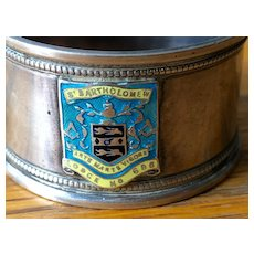 Masonic Lodge English Silver Napkin Ring with Enamel Crest