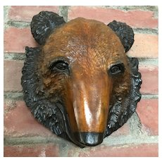 Charming Hand Carved Bear Head - Japanese 1940's