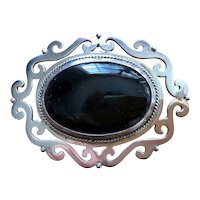 Very Large Black Onyx Sterling Silver Mexican Pin or Pendant