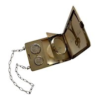 Fabulous  Nickel Silver Purse with  Compact - Coin Holder - Mirror - Card / Bill Holder circa 1910