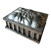 Antique Austrian Jelly Mold with Varied Fruits and Column Sides