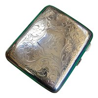 Handsome English Sterling Silver Cigarette Case Dated 1918