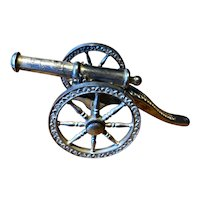 """Silver Plated Model Cannon - 6"""" Long - English Made"""