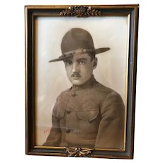 World War I Soldier's Photograph in Patriotic Frame