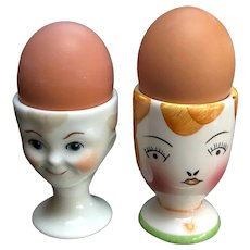 Cute Couple of Ceramic Egg Cups - Boy marked Limoges