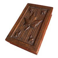 Unusual Carved Wooden Stamp Box with Six Compartments