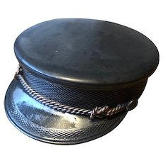Antique Silver Plate Military Hat Shaped Trinket Box - William Barthman NYC 1890's