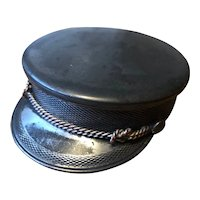 Antique Silver Plate Postman's Hat Trinket or Stamp Box - William Barthman NYC 1890's