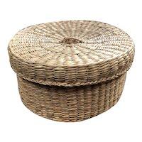 "Lovely Sweet Grass Round Sewing / Trinket Basket - 5 3/4""  in Diameter"