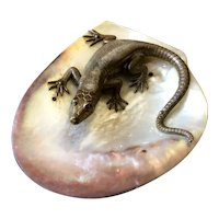 Fabulous Crouching Lizard on Gleaming Shell Tray of Mother of Pearl