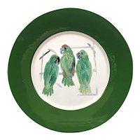 "Tiffany & Co. Hunt Slonem Green Parrots Plate - 12 1/2"" in Diameter"