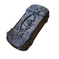 Black Forest Carved Wooden Match Safe with Sliding Top