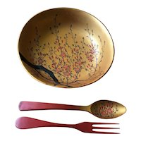 Beautiful Japanese Lacquerware Bowl, Spoon & Fork - Hand Painted Cherry Blossoms