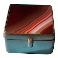 Double Sided Banded Agate Victorian Pill Box