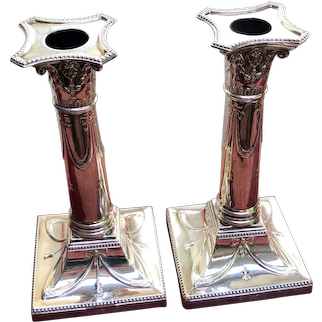 Pair of English Sterling Silver Corinthian Column Candlesticks by Thomas Bradbury and Sons - 1912