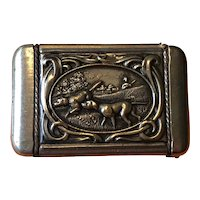 Antique Matchsafe with Hunting Scenes - Gun Dogs and Quails
