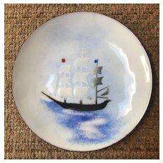 Enamel on Copper Shallow Bowl - Three Masted Sailing Ship on the Sea