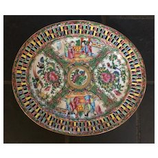 Lovely Chinese Rose Medallion Tray with Reticulated Border - 19th Century