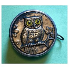Tape Measure - Owl in a Tree -  Embossed Brass with Glass Eyes