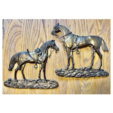 Two Large Victorian Gilded Brass Horse Ornaments - Saddled Up