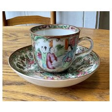 Lovely Chinese Rose Medallion Porcelain Tea Cup and Saucer - 19th Century