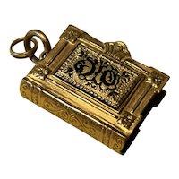 Book Shaped Gold Filled Victorian Hair Locket with Black Enamel - Swivels Open