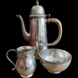 James Robinson - Sterling Silver Coffee Pot, Sugar Bowl, & Cream Jug - Made in London