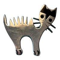 Small Heavy Sterling Silver & Enamel Cat Pin