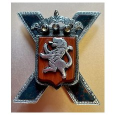 Scottish St. Andrew's Cross Pin with Lion - Victorian - Blood Stone, Carnelian, Silver